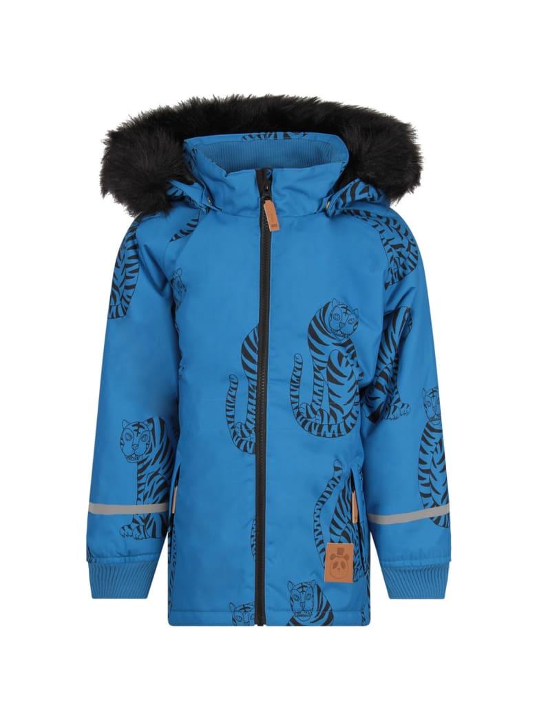 Mini Rodini Azure Boy Jacket With Colorful Black Tigers - Light Blue