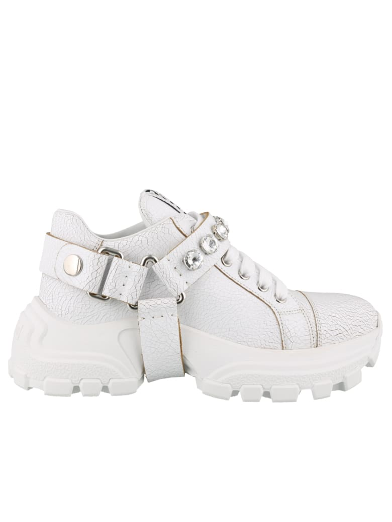 quite nice usa cheap sale beauty Miu Miu Miu Miu Leather Sneakers With Crystals - White - 11005278 ...
