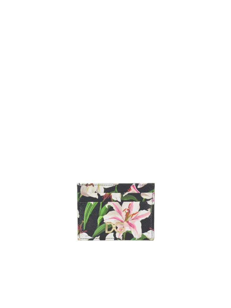 Dolce & Gabbana Lilium Print Cards Holder - Black