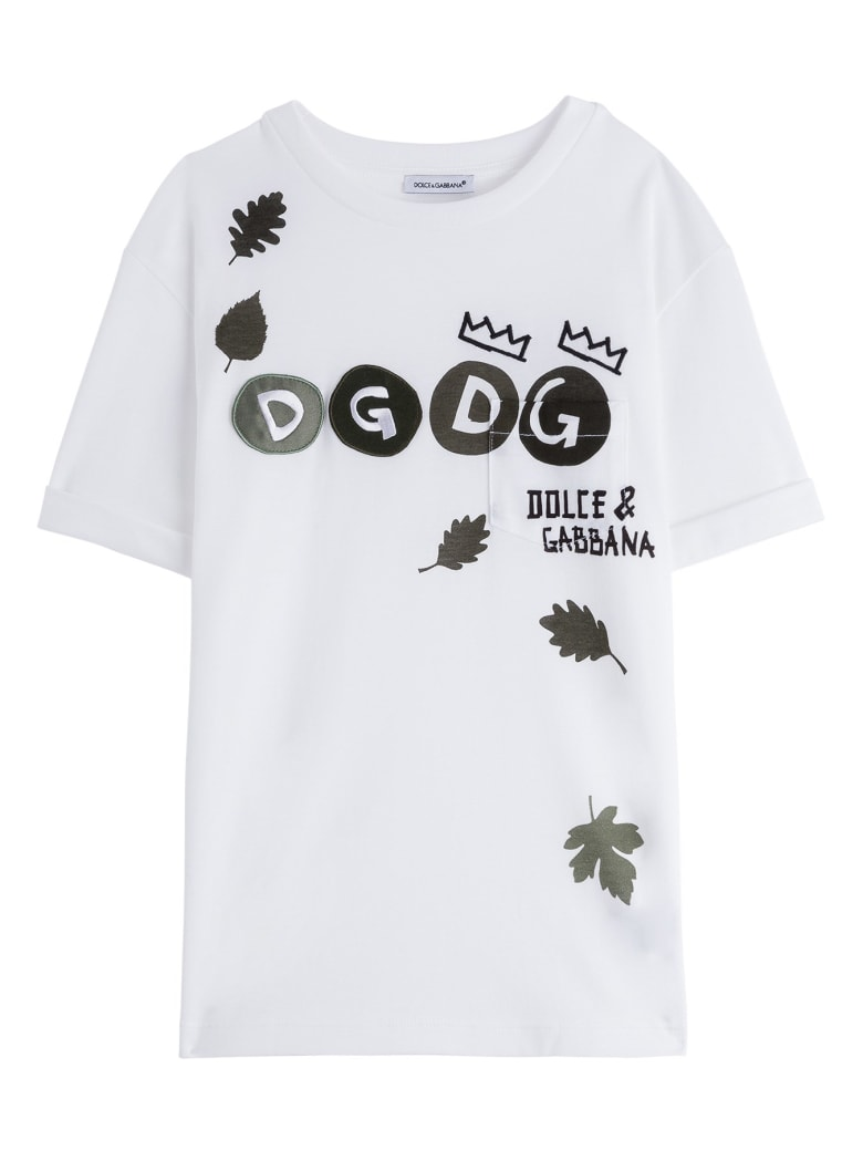 Dolce & Gabbana Jersey T-shirt With Leaves Print And Logo Patch - White