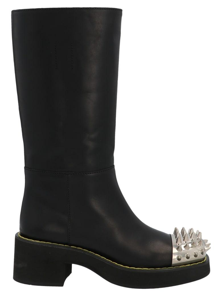 Miu Miu Studded Leather Boots - Black