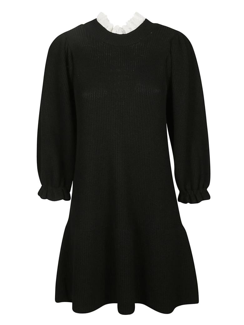 RED Valentino Ribbed Knit Dress - Black