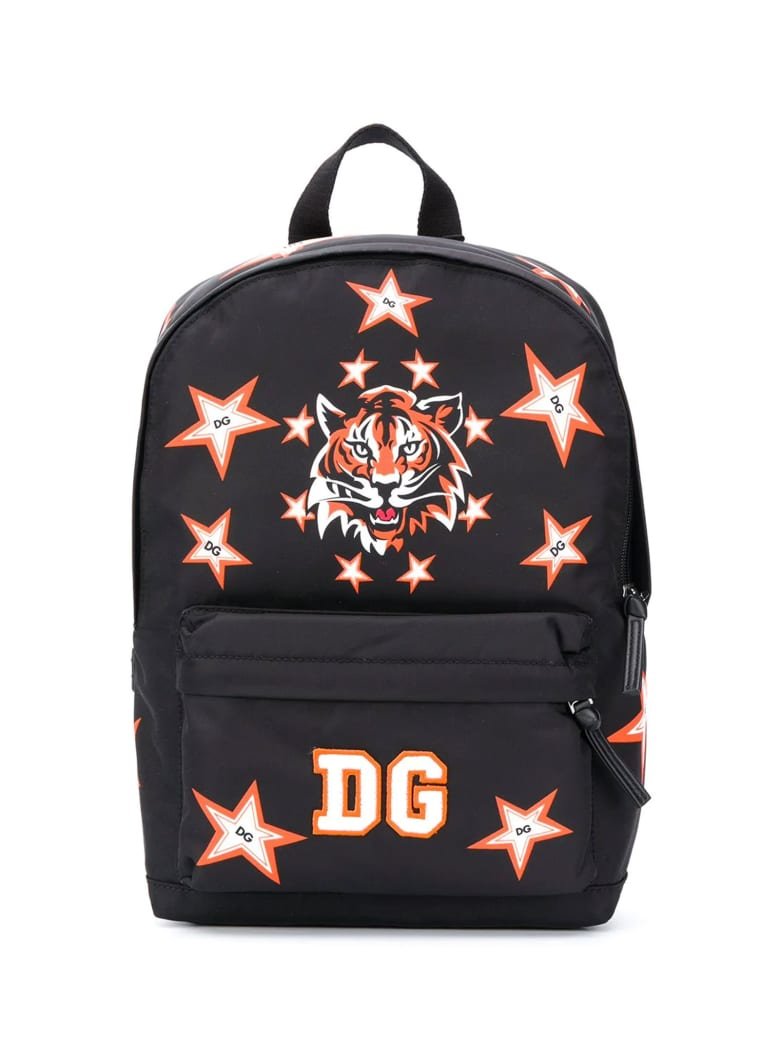Dolce & Gabbana Black Backpack With Mulricolr Tiger Print Dolce&gabbana Kids - Nero