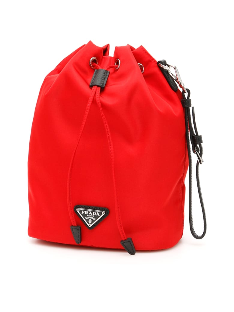 Prada Bucket Bag With Handle - ROSSO NERO (Red)