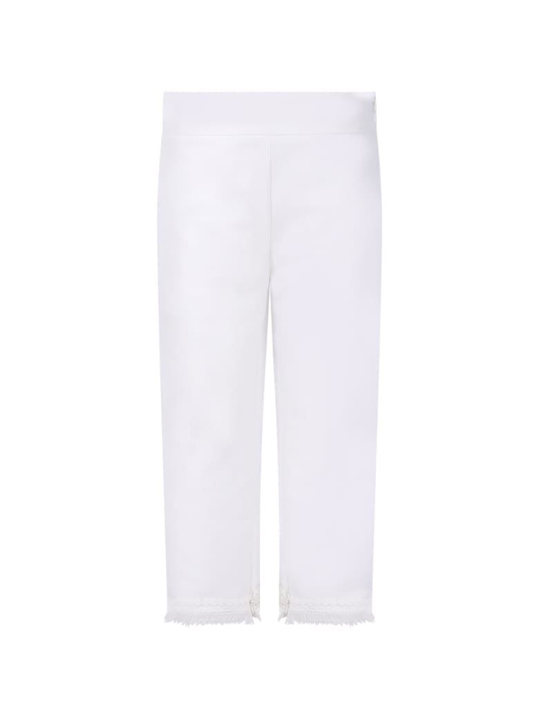 Loredana White Trousers For Girl With Fringed - White