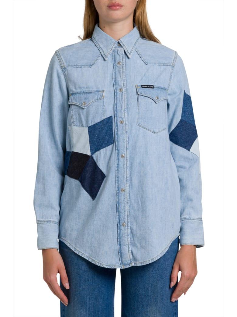 Calvin Klein Jeans Foundation Western Denim Shirt With Contrasting Patches - Blu Denim