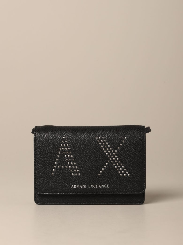 Armani Collezioni Armani Exchange Mini Bag Armani Exchange Bag In Synthetic Leather With Ax Logo Of Studs - black