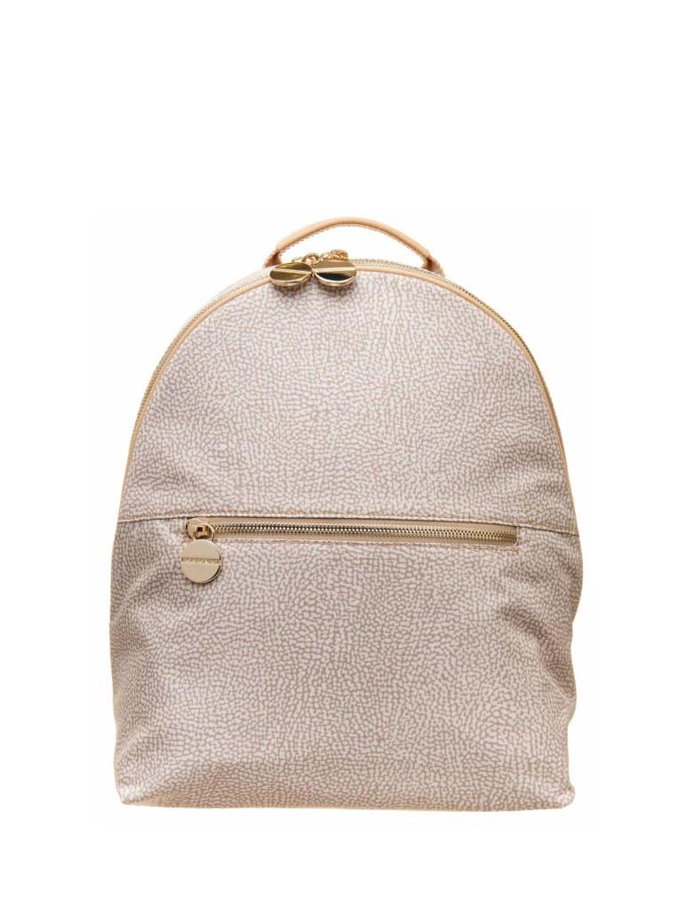 Borbonese Borbonese Medium Backpack With Op Pattern - BEIGE
