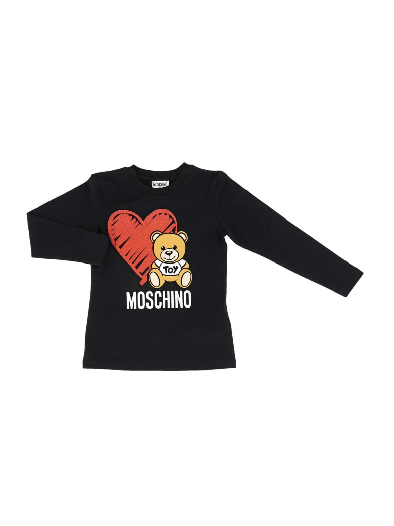 Moschino Bear Heart Long Sleeve Tee - Nero