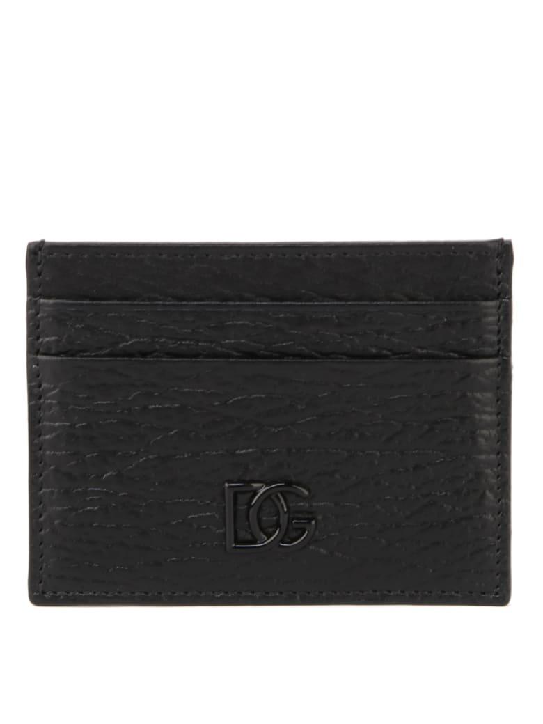 Dolce & Gabbana Black Calf Crossed Leather Cardholder - NERO