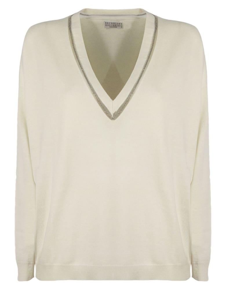 Brunello Cucinelli Cream Cashmere Sweater - Panna