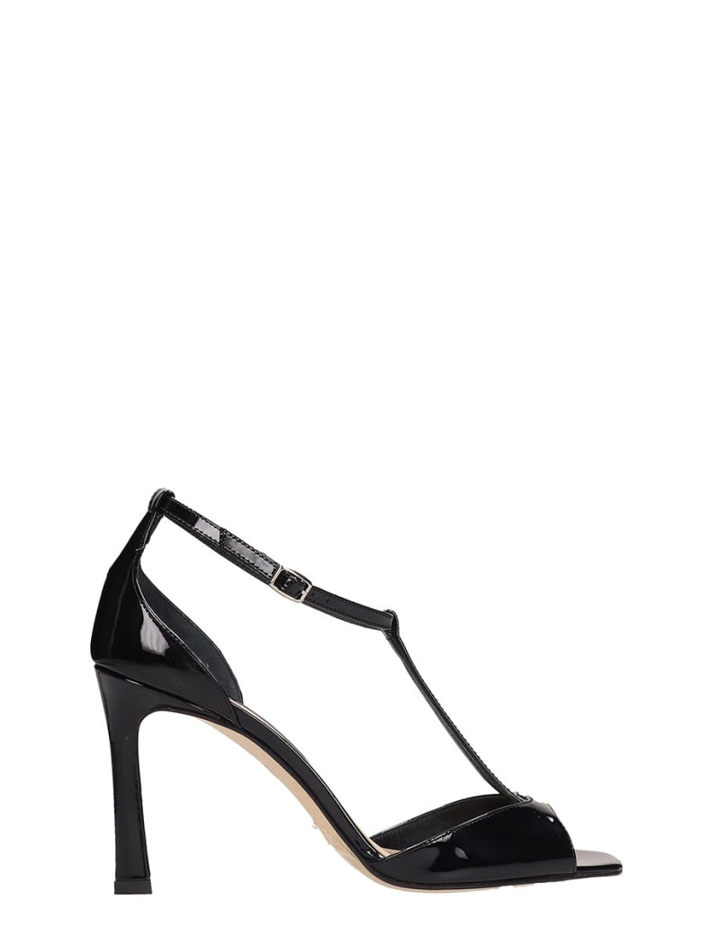 The Seller Black Patent Leather Sandals - black