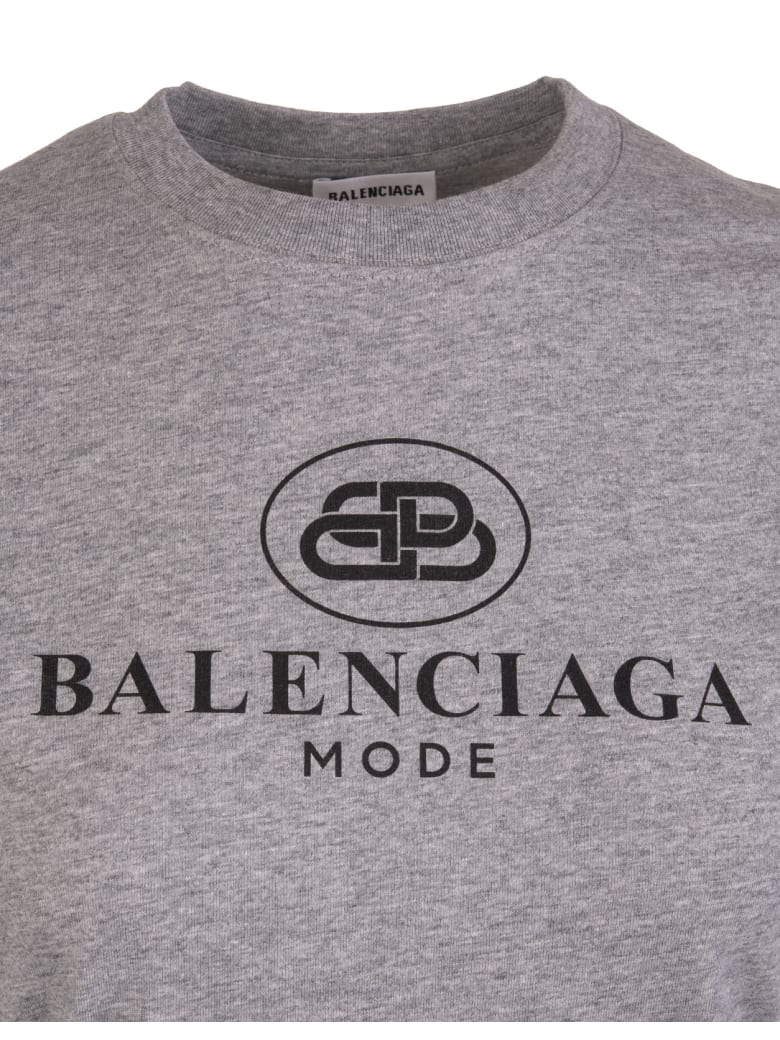 Balenciaga Woman Regular Fit Bb Logo Grey T-shirt - Grigio