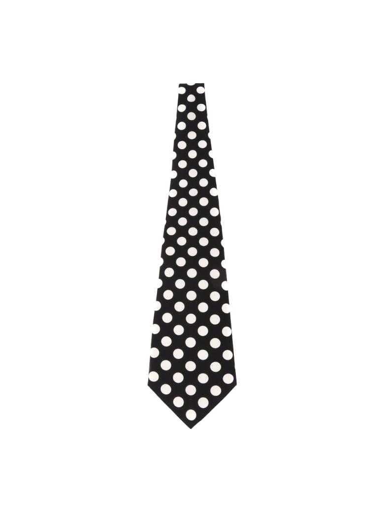 Dolce & Gabbana Black & White Polka Dot Silk Tie - Black/white
