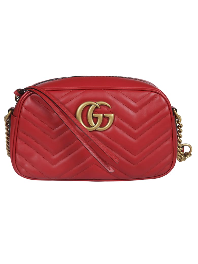 Gucci Gg Marmont Shoulder Bag - Hibiscus Red