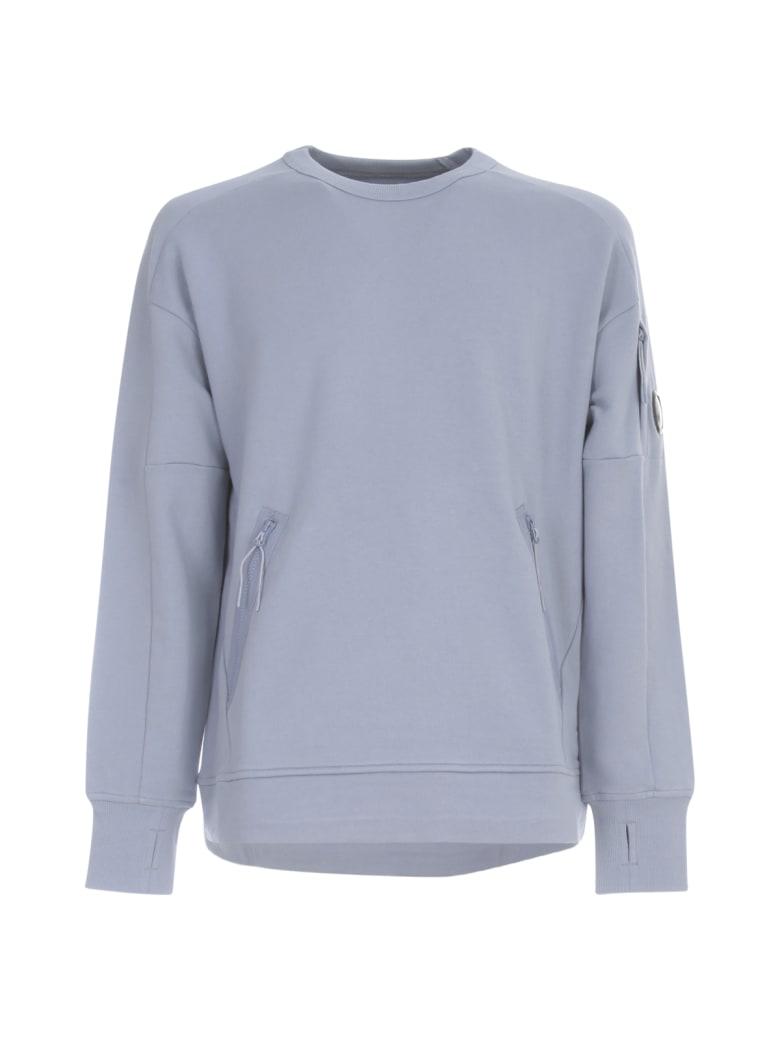C.P. Company Oversized Sweatshirt Crew Neck W/ Logo On Sleeve - Blue Fog