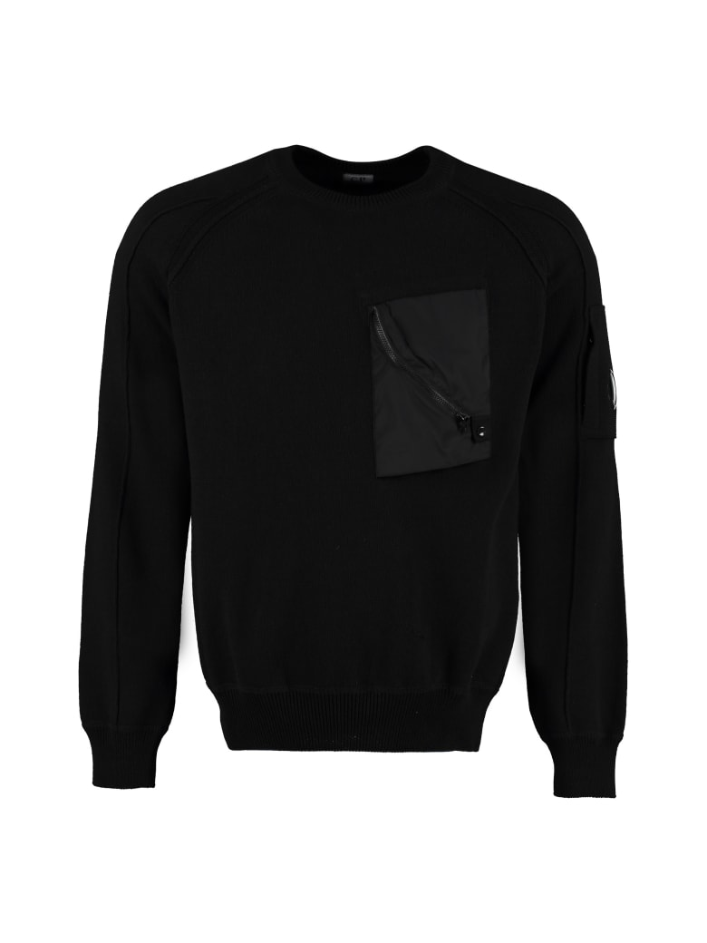 C.P. Company Cotton Crew-neck Sweater - black