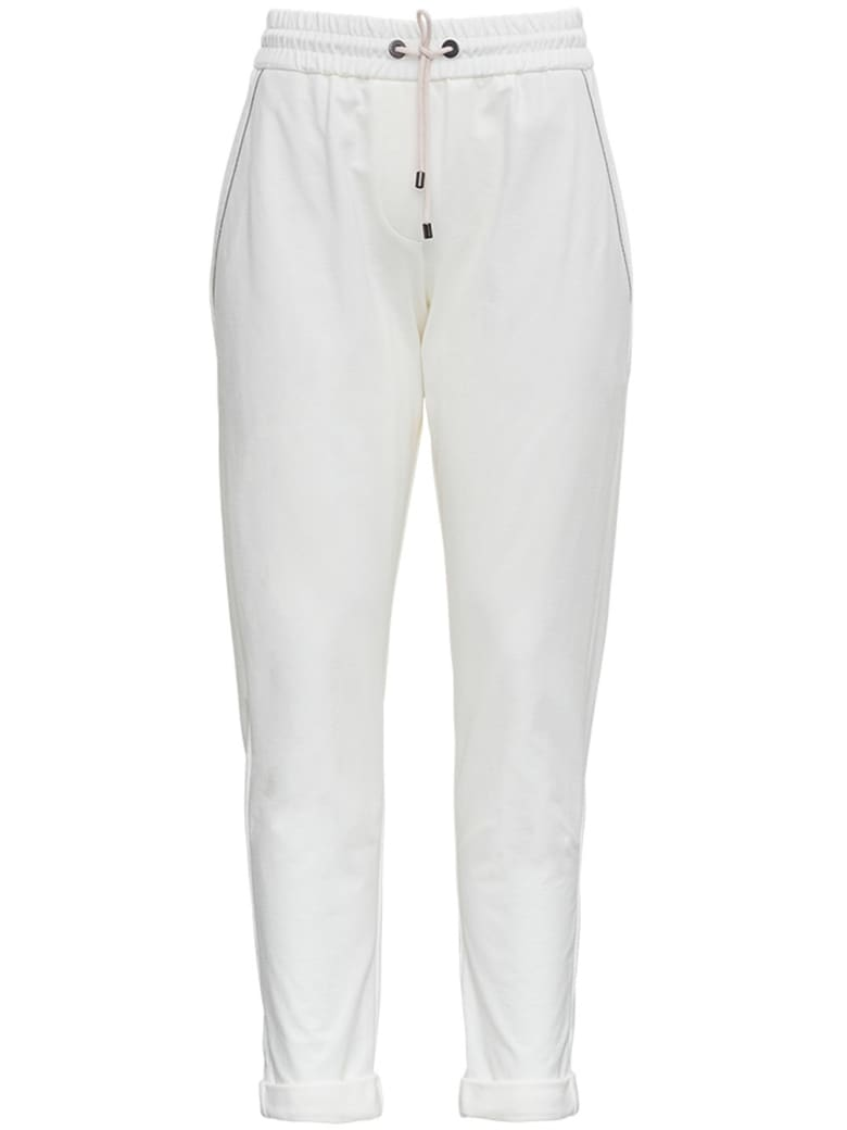 Brunello Cucinelli White Jersey Trousers With Monile Profiles - WHITE