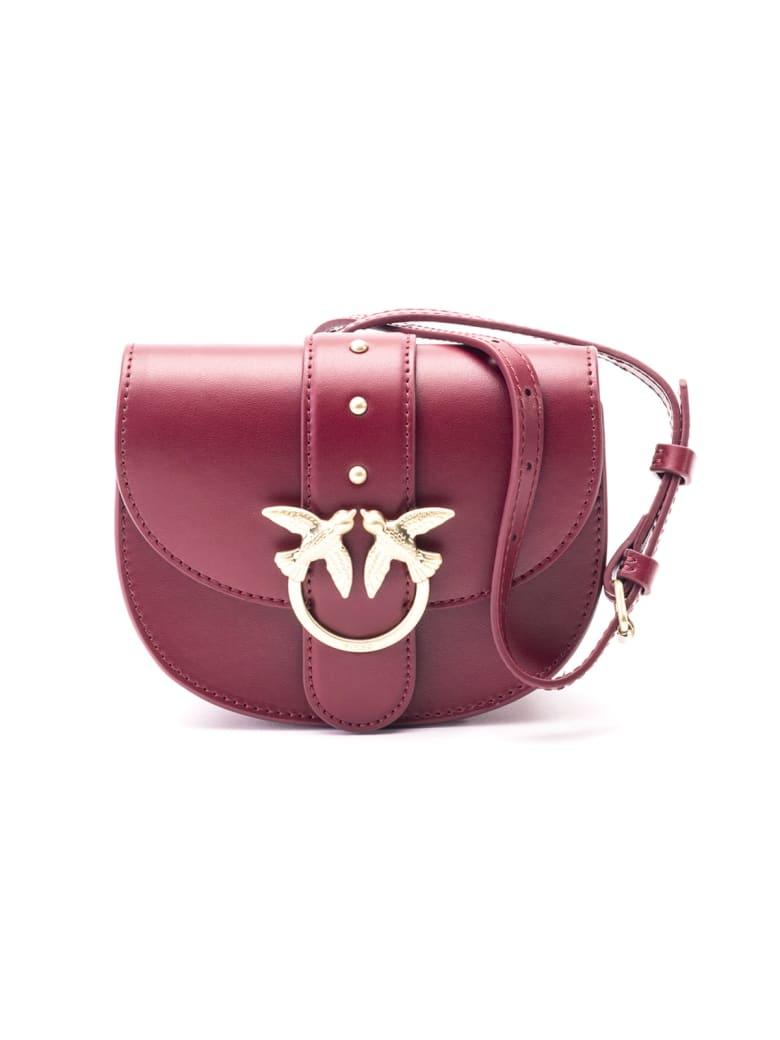Pinko Leather Shoulder Bag - DARK RED
