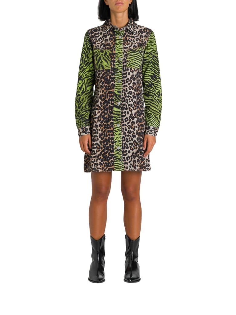 Ganni Animalier Printed Denim Shirt Dress - Multicolor