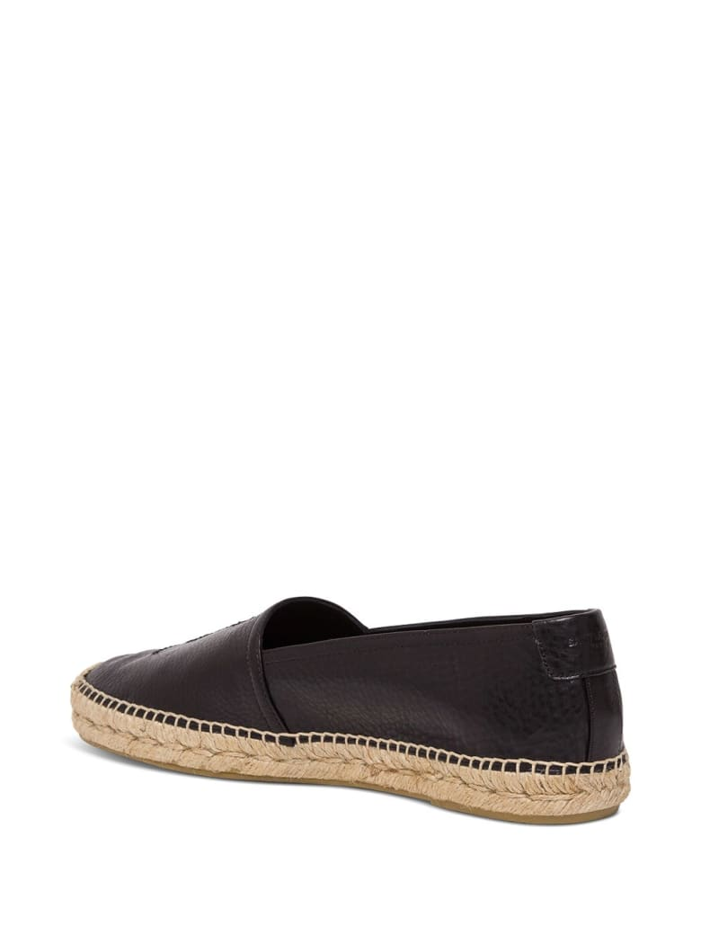 Saint Laurent Espadrilles In Black Leather With Logo - Nero