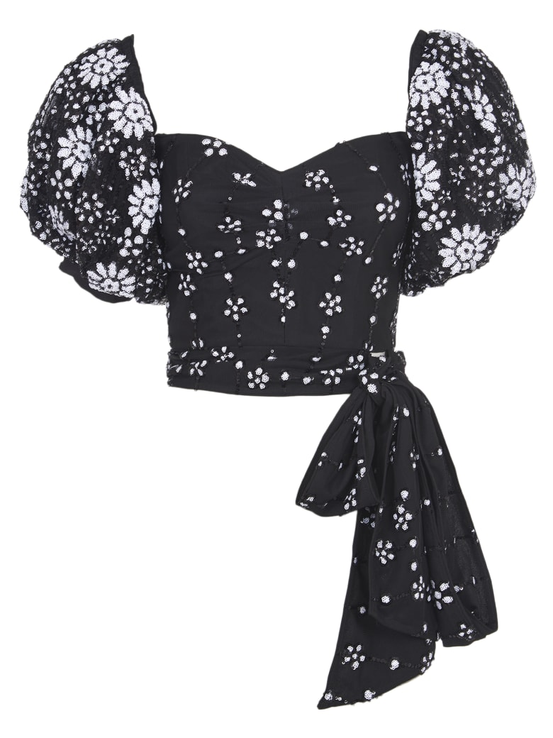 self-portrait Short Top With Embroidered - Black