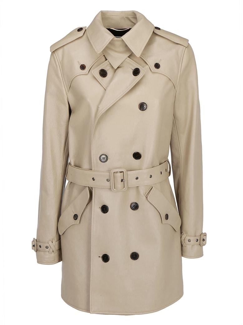 Saint Laurent Leather Jacket - Beige