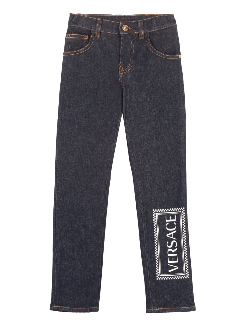 Young Versace Logo Print 5-pocket Jeans - Denim