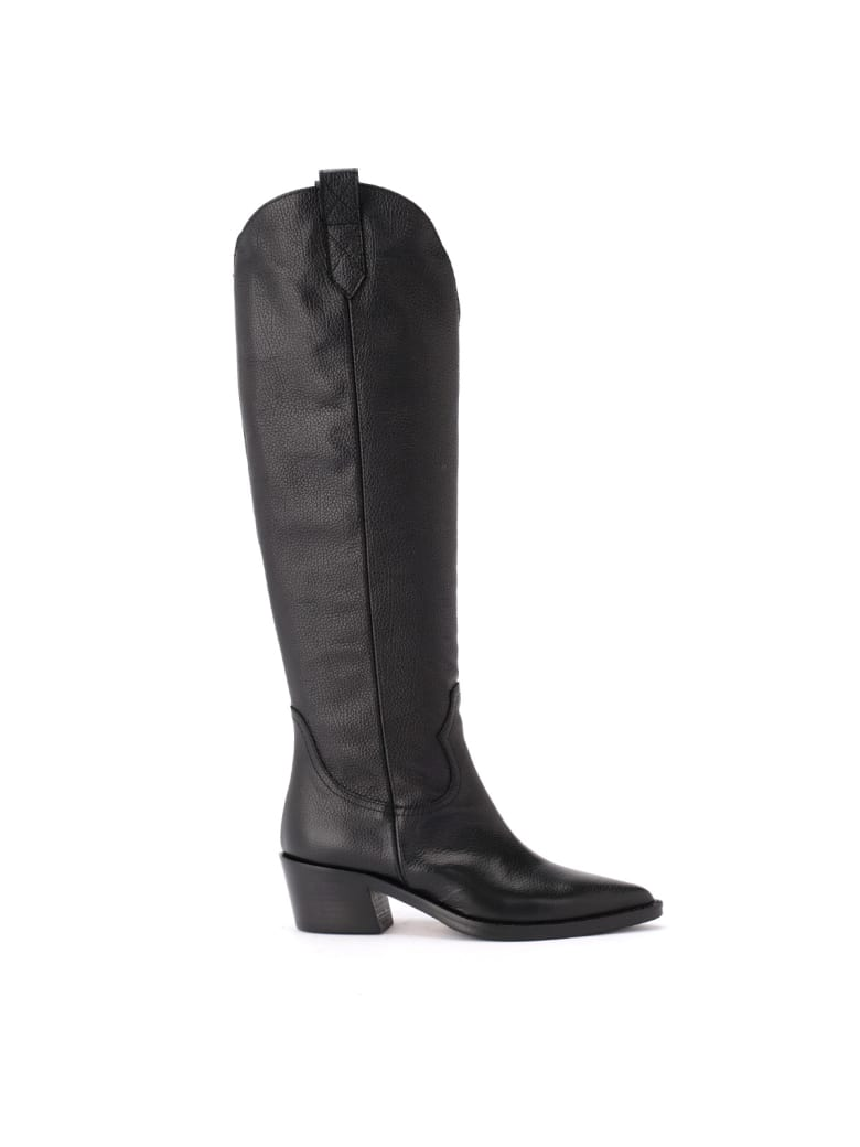 Via Roma 15 Boot In Black Hammered Leather With Internal Zip - NERO