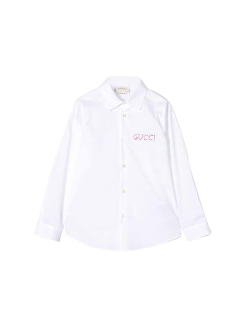 Gucci Kids Shirt With Embroidery - Bianco/multicolor