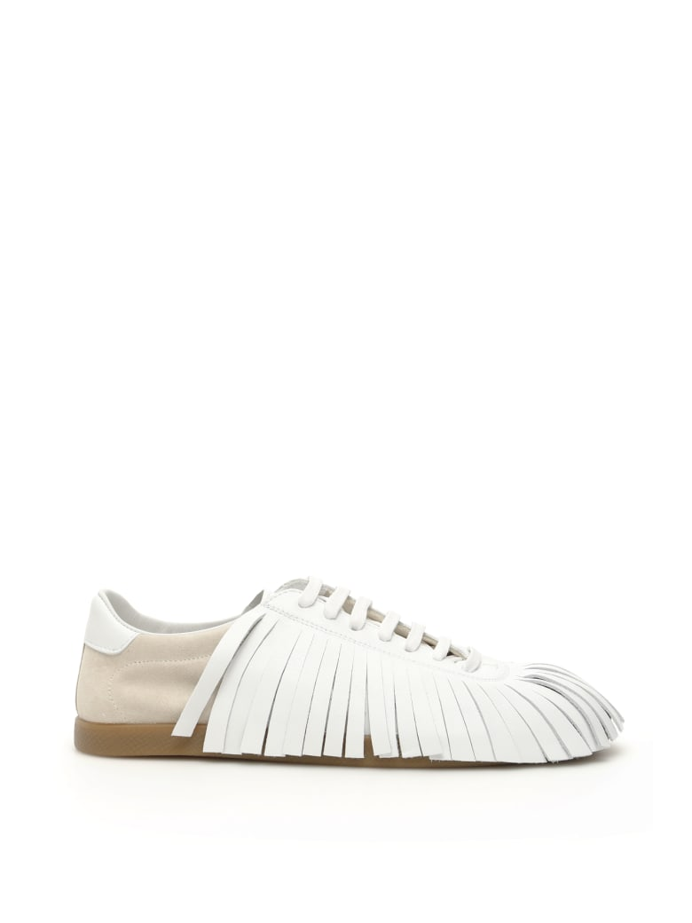 Lanvin Fringed Leather Sneakers - CREAM WHITE (White)