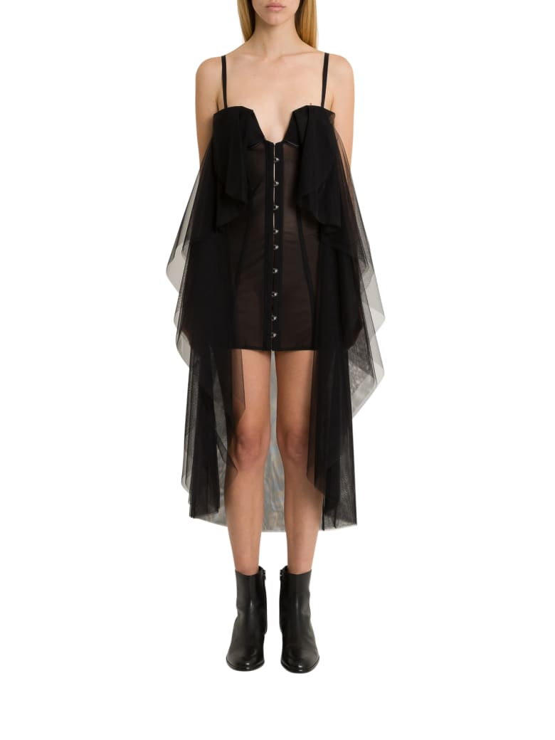 Ben Taverniti Unravel Project Bustier Dress With Mantle - Nero