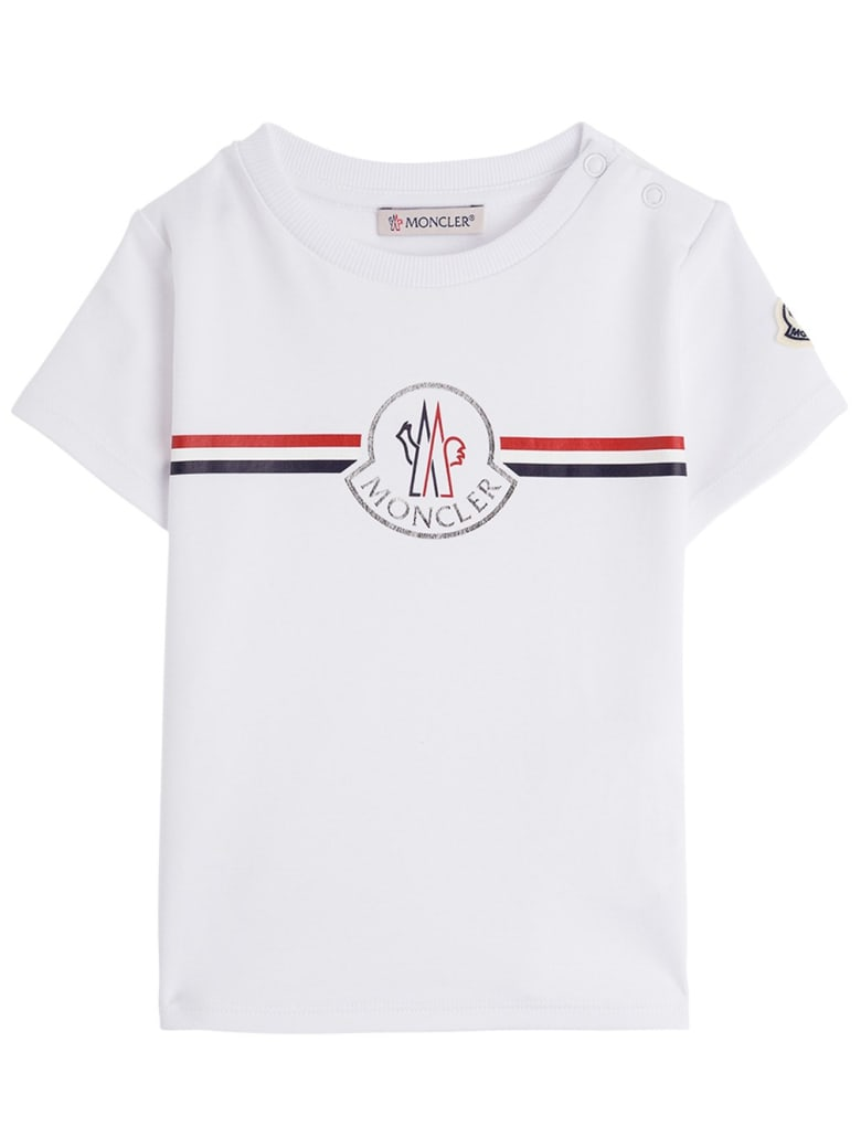 Moncler Jersey T-shirt With Front Logo Print - Bianco