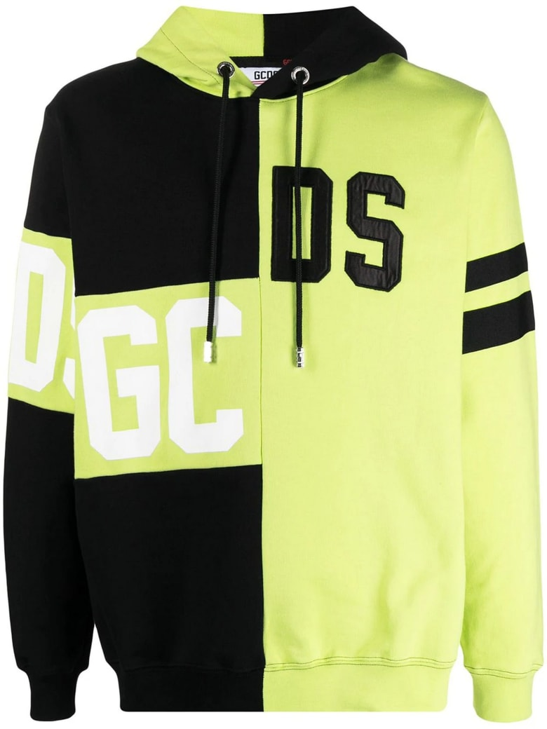 GCDS Yellow And Black Cotton Hoodie - Giallo