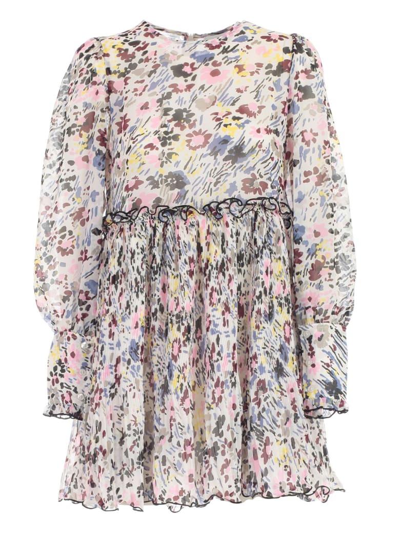 Ganni Dress L/s W/flowers - Egret