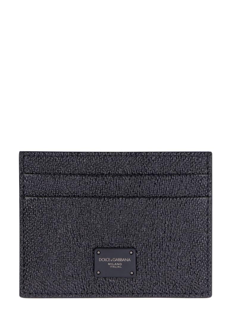 Dolce & Gabbana Dauphine Print Leather Card Holder - black