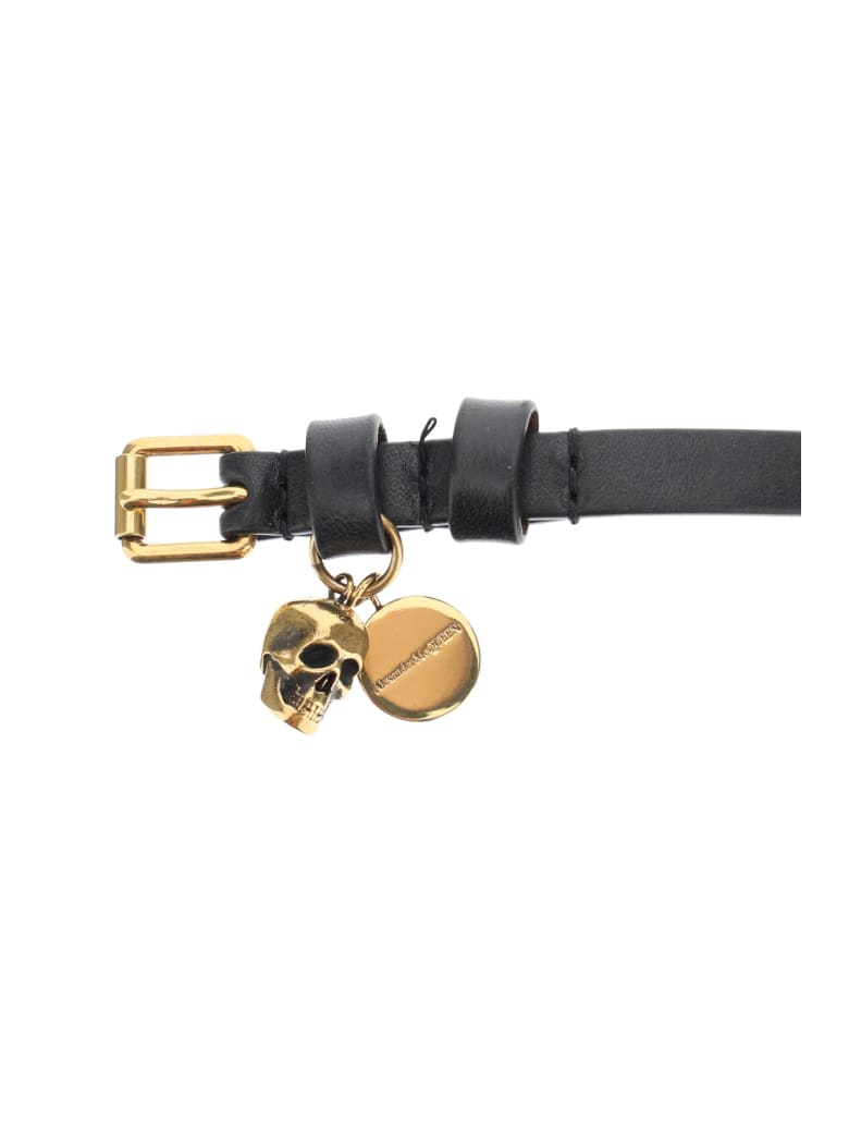 Alexander McQueen Pionier Double Wrap Leather Bracelet - BLACK