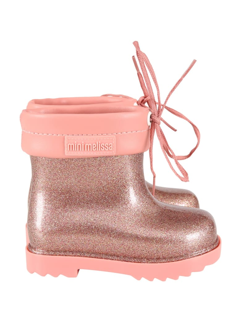 Melissa Pink Boots For Girl With Logo - Pink