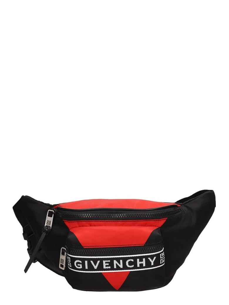 Givenchy Black And Red Technical Fabric Beltbag - black