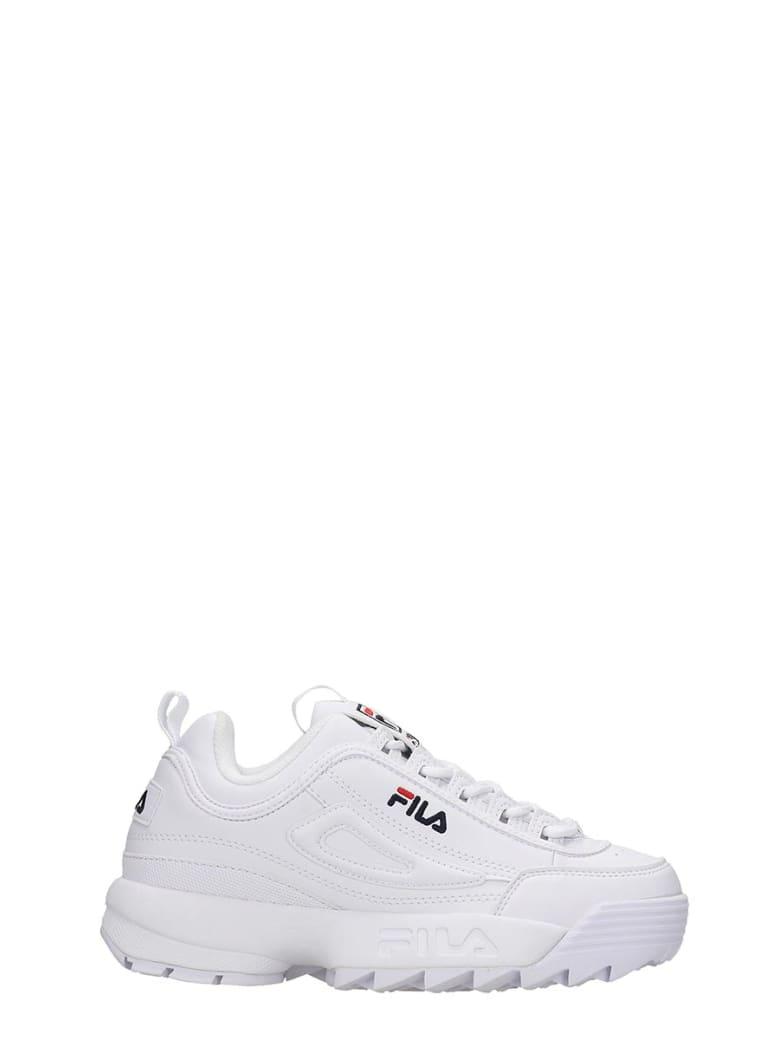 Fila Distruptor Low Sneakers In White Leather - white