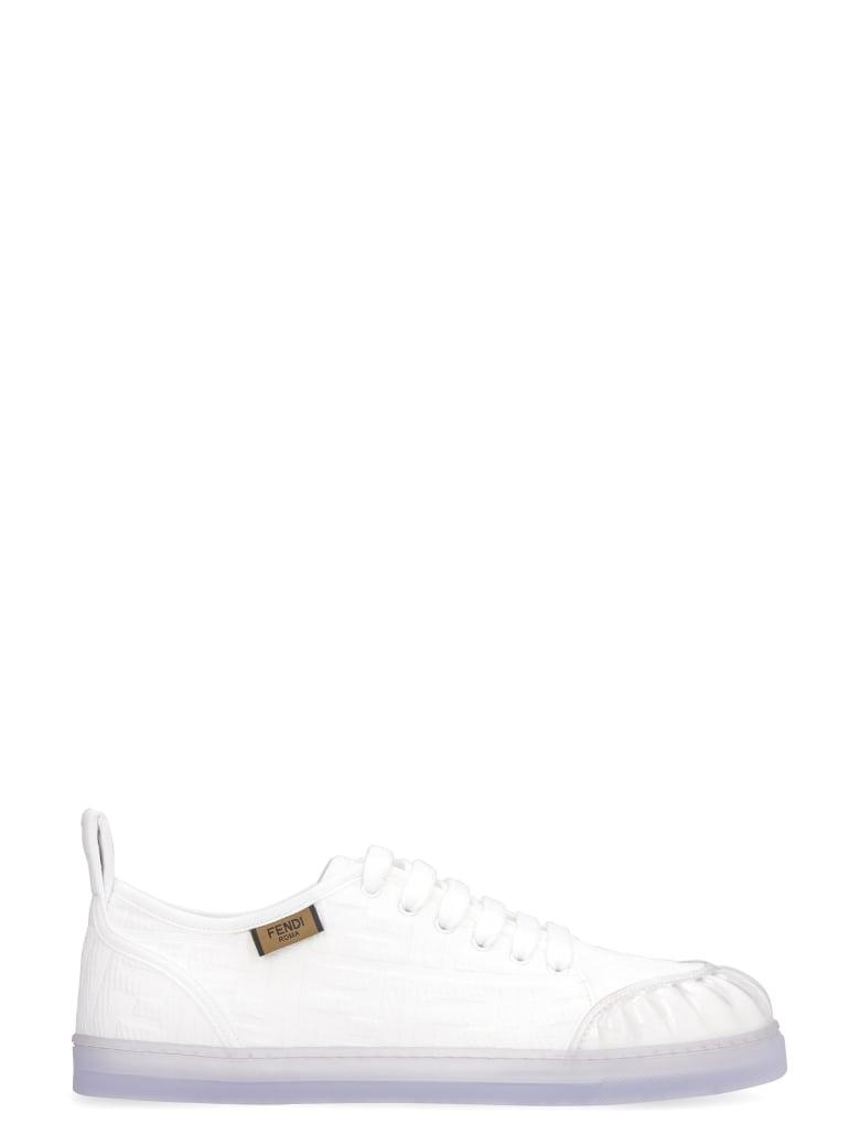 Fendi Promenade Canvas Sneakers - White