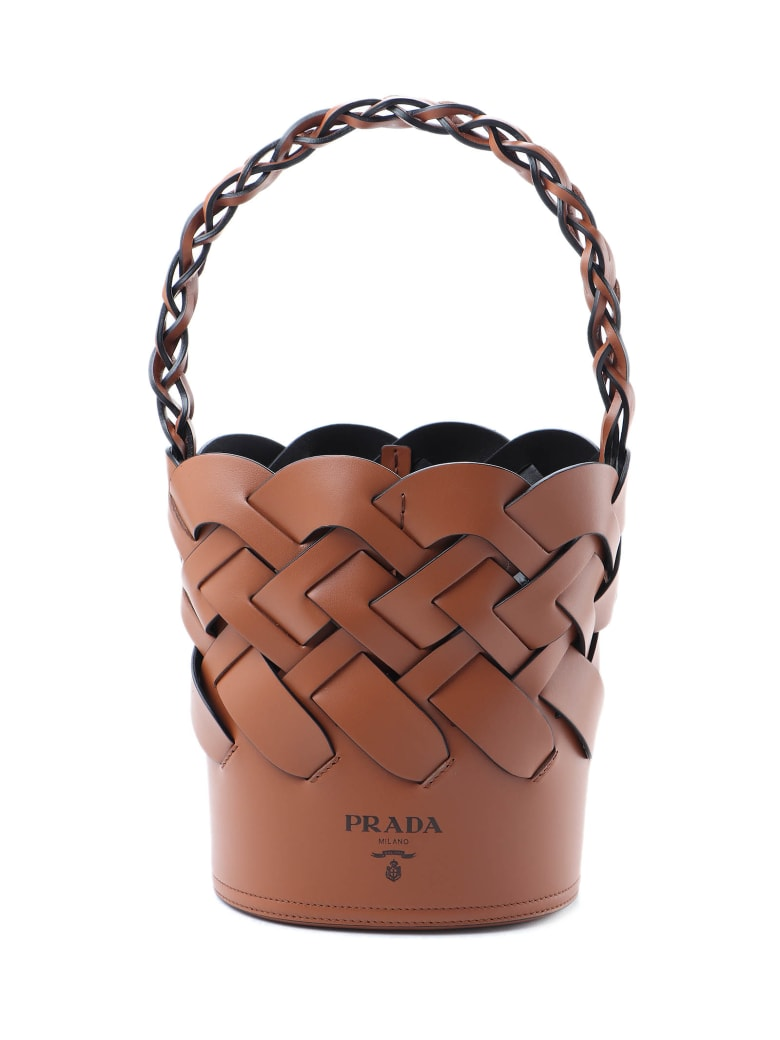 Prada Bucket Bag Leather - Xkv Cognac/nero