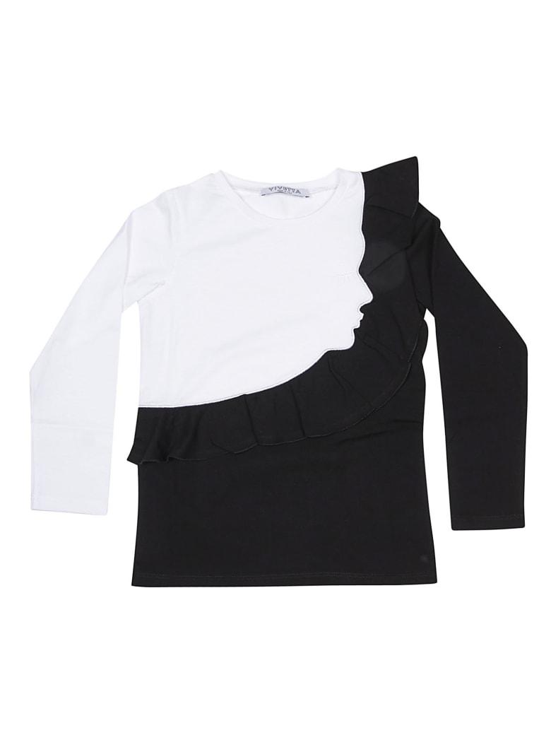 Vivetta Ruffled Detail Long Sleeve T-shirt - White/Black