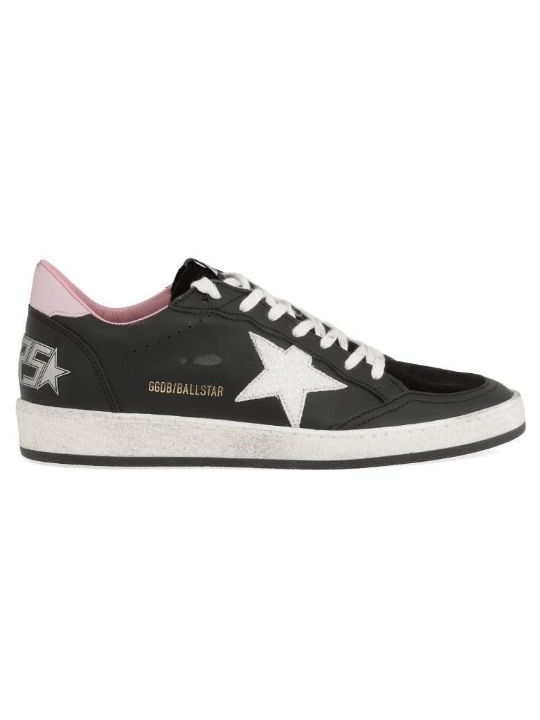 Golden Goose Ball Star Sneaker - BLACK LEATHER-WHITE GLITTER ST