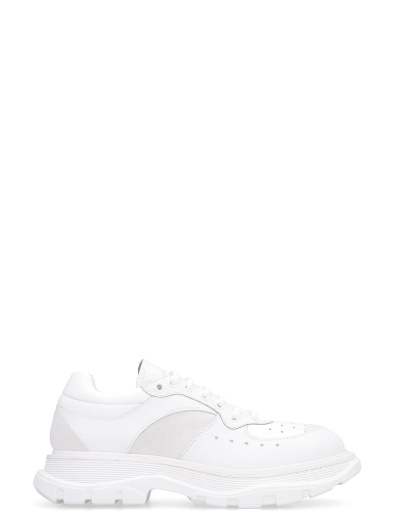 Alexander McQueen Smooth Leather Lace-up Shoes - White