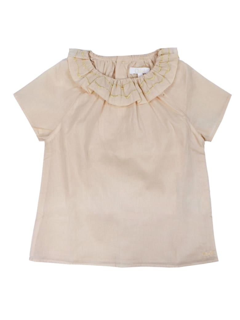 Chloé Pink Ruffled Neck Cotton Blouse - Rosa