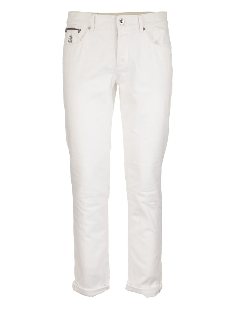 Brunello Cucinelli Lightweight Dyed Denim Leisure Fit Five-pocket Trousers With Rip Details - White