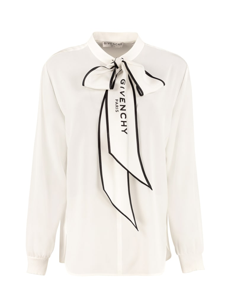 Givenchy Pussy-bow Silk Blouse - White