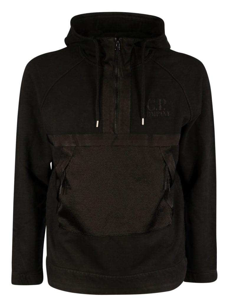 C.P. Company Diagonal Fleece Hooded Sweatshirt - Black