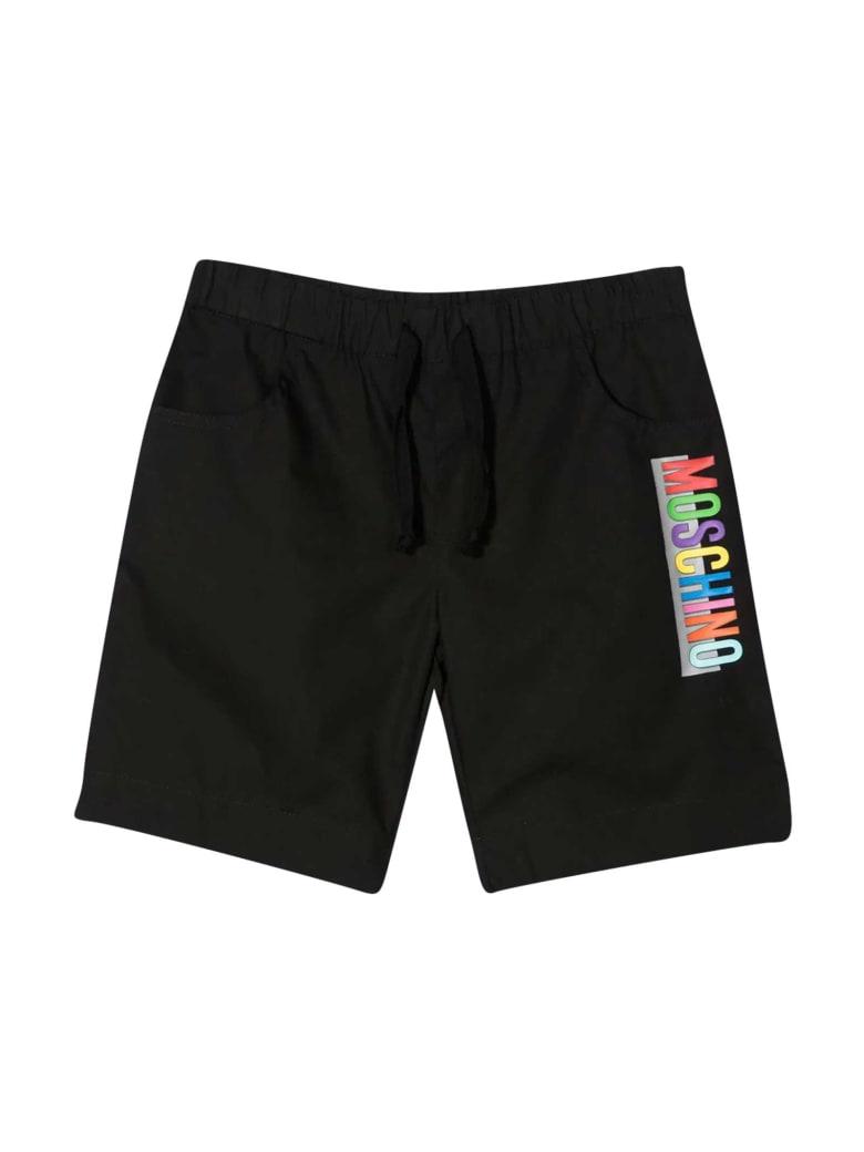 Moschino Black Teen Bermuda With Multicolor Print - Nero